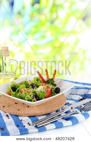 Light salad on plate on napkin on window background
