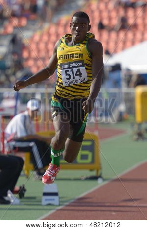 DONETSK, UKRAINE - JULY 12: Obrien Wasome of Jamaica competes in the triple jump during 8th IAAF World Youth Championships in Donetsk, Ukraine on July 12, 2013