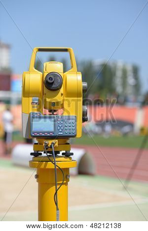 DONETSK, UKRAINE - JULY 13: Measurement equipment for long jump competitions during 8th IAAF World Youth Championships in Donetsk, Ukraine on July 13, 2013