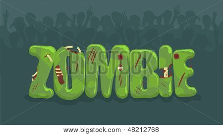 Vector zombie sign with spooky silhouettes on background