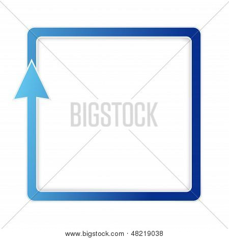 Isolated blue square arrow