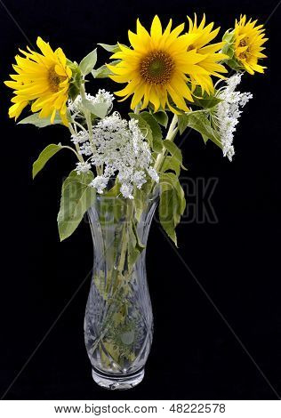bouquet of sunflowers in a vase