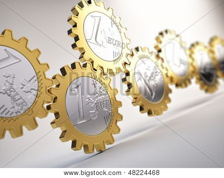 Euro coin gears  - financial system concept