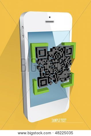 Scanning QR code with smart phone. eps 10 vector.