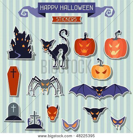 Happy Halloween-Aufkleber set für Design.