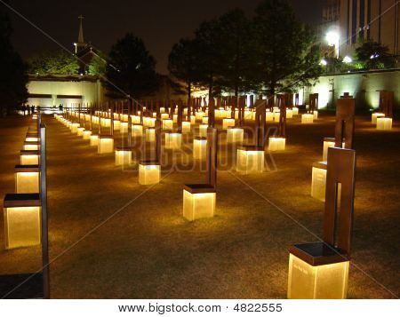Field Of Memorial Chairs At Night