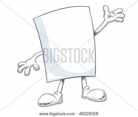 Personaje de dibujos animados de papel en blanco con brazos