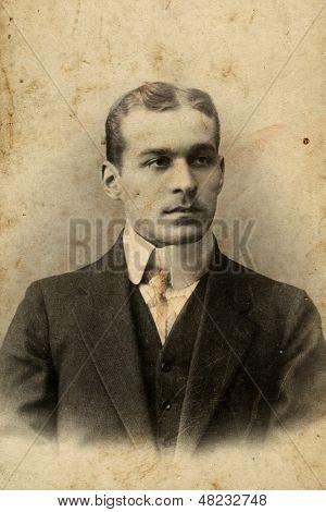 MOSCOW, RUSSIA, CIRCA 1904 : Antique photo, portrait of a man, circa 1904