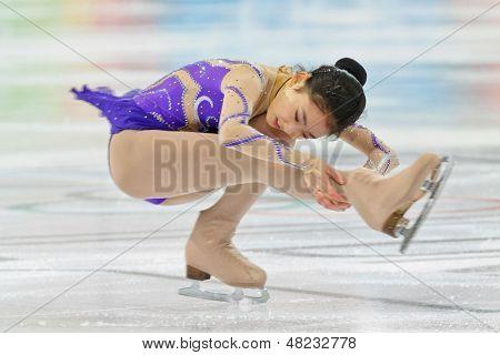 INNSBRUCK, Österreich - setzt Dritter in die Damen-Eiskunstlauf-Ereignis auf Januar 17 Zijun Li (China)