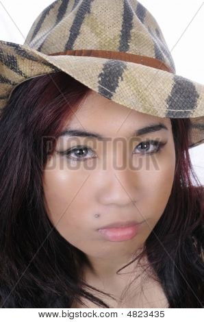 Pretty Young Asian Woman In Closeup
