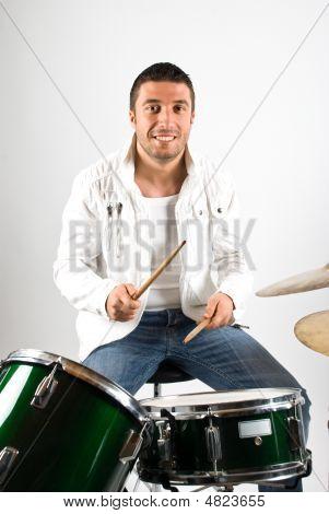 Glücklich Schlagzeuger