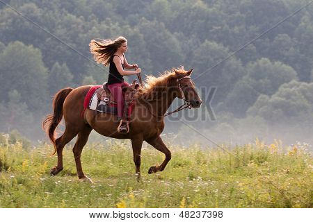 Young Girl With A Horse