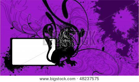 heraldic sitting lion copysapce background