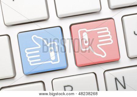 Like and dislike key on keyboard