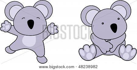 koala cute baby jump cartoon vector set