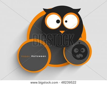 Halloween sticker, tag or label with owl and space for your message.