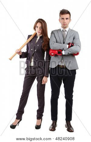 Armed young business people isolated on white
