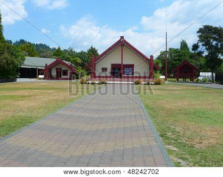 Maori meeting house in Rotorua Maori cultural center, New Zealand