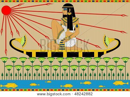 Ägyptische Mädchen auf dem Boot