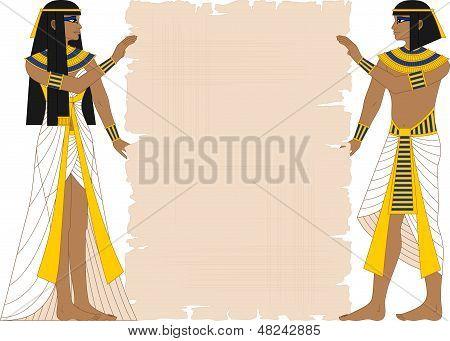 Ägyptische Frau und Mann, Papyrus