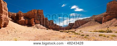 Charyn Canyon Under Blue Sky. State National Paleontology Park In Kazakhstan