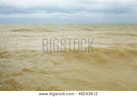 Sandy Seawater After The Storm