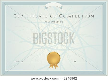 Certificate / Diploma template with guilloche pattern