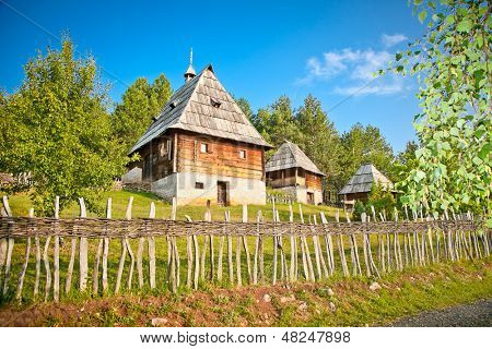 Ethno-village Sirogojno (the Old Village Museum) in sunset, Zlatibor mountain, Serbia.