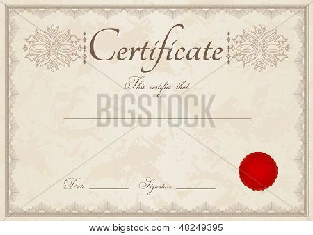 Certificate / Diploma template with guilloche pattern (tracery)