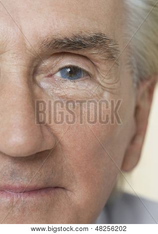 Detail portrait shot of a senior man's face with blue eye