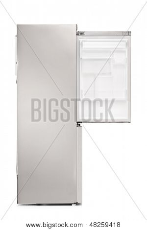Studio shot of an empty fridge isolated on white background
