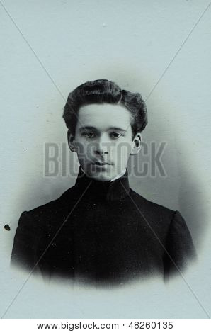 MOSCOW, RUSSIA, CIRCA 1905: Antique photo, portrait of a young man, circa 1905