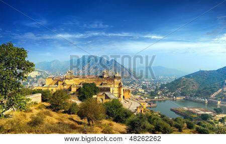 India Jaipur Amber fort in Rajasthan. Ancient indian palace architecture sunset panoramic view