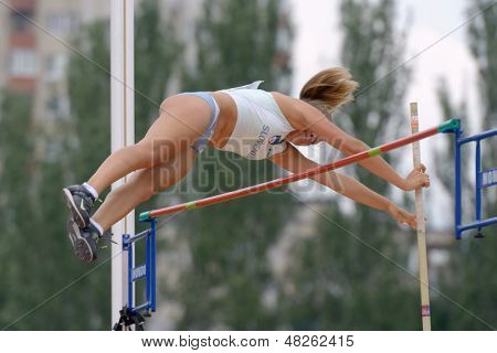 DONETSK, UKRAINE - JULY 11: Leda Kroselj of Slovenia competes in pole vault during 8th IAAF World Youth Championships in Donetsk, Ukraine on July 11, 2013