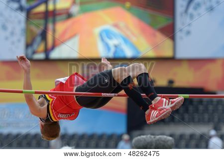 DONETSK, UKRAINE - JULY 11: Tobias Capiau of Belgium competes in high jump in Octathlon during 8th IAAF World Youth Championships in Donetsk, Ukraine on July 11, 2013