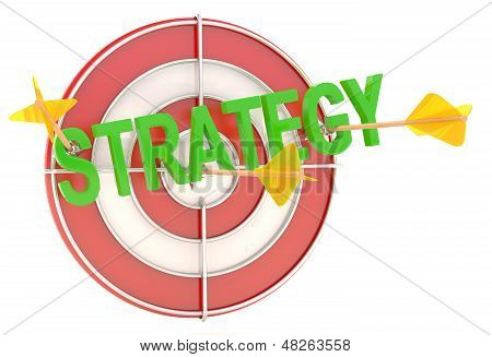 Strategy Concept. Dartboard With Arrows. 3D Model