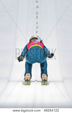 SEEFELD, AUSTRIA - JANUARY 19 Magdalena Palasz (Poland)  jumps in Seefeld during a training session on January 19, 2012 in Seefeld, Austria.
