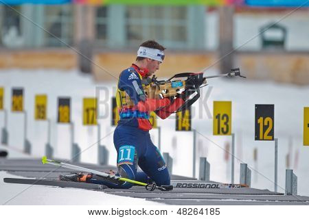SEEFELD, AUSTRIA - JANUARY 19 Nick Proell of team USA places 14th in the mixed biathlon relay event on January 19, 2012 in Seefeld, Austria.
