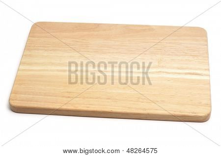 a wooden chopping board on a white background