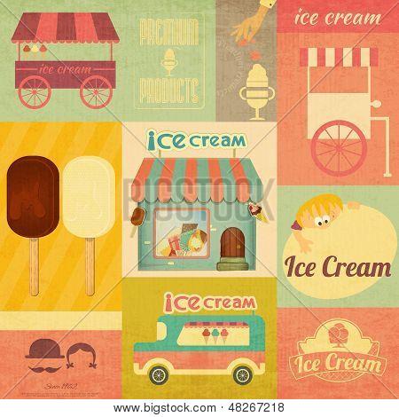 Ice Cream Retro Menu Card