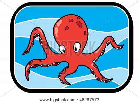 Cartoon Octopus In Ocean