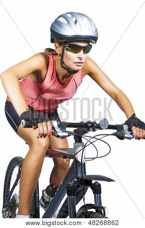 Professional Female Cycling Athlete Riding Mountain Bike Wearing Professional Clothes Isolated Over