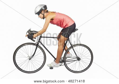 Portrait Of Young Female Professional Cycling Athlete Posing With Racing Bike.model Equipped With Pr