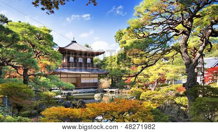 Ginkaku-ji Temple in Kyoto, Japan during the fall season.