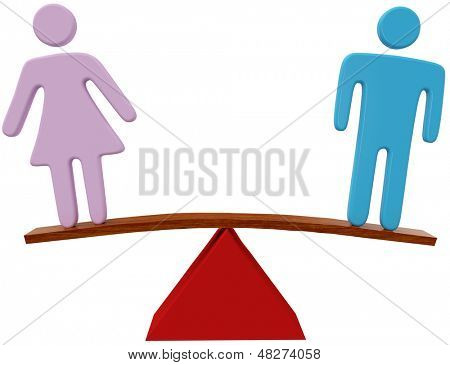 Equal man and woman sex equality gender balance