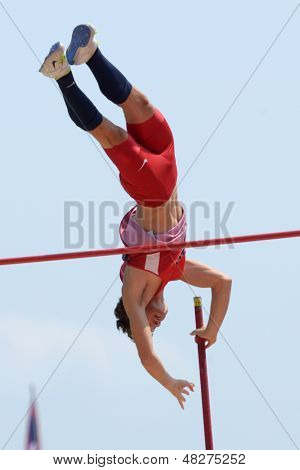 DONETSK, UKRAINE - JULY 12: Devin King of USA competes in pole vault during 8th IAAF World Youth Championships in Donetsk, Ukraine on July 12, 2013