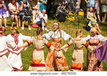 TERVENICHI, RUSSIA - JUL 7: Local people celebrated Ivan Kupala Day, Jul 7, 2013, Tervenichi, Russia. The celebration relates to the summer solstice and includes a number of fascinating Pagan rituals.