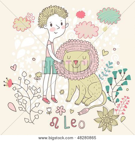 Cute zodiac sign - Leo. Vector illustration. Little boy playing with big lion. Background with flowers and clouds. Doodle hand-drawn style