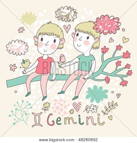 Cute zodiac sign - Gemini. Vector illustration. Little boys playing with birds on the branch in cloud sky. Doodle hand-drawn style
