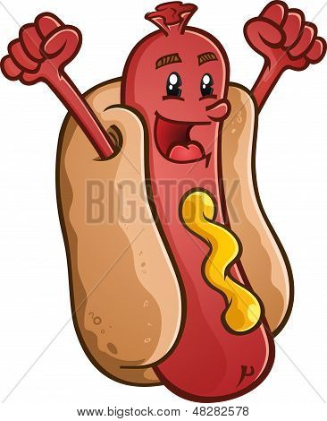 Hot Dog Cartoon Character Celebrating With Excitement